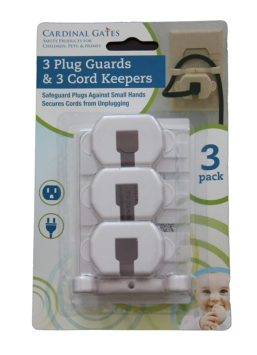Cardinal Gates 3 Piece Plug Guard and Cord Keeper, White PGCK