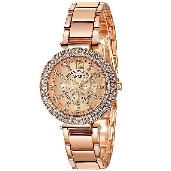 anleowatch 1pcs 2015 nuevo romano numral Watches Mujer Reloj Metal Reloj de cuarzo Rose Gold Reloj de pulsera para mujer: Amazon.es: Relojes