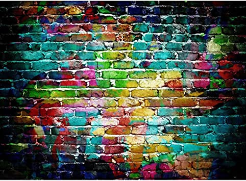 MEETSIOY Brick Wall Backdrop Paint Splatter 7X5ft Photography Background Themed Party Photo Booth YouTube Backdrop LXMT1365
