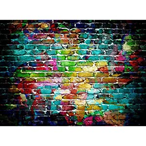 Mohoo 7x5FT Colorful Brick Wall Silk Photography Backdrop for Studio Prop Photo Background 2.1x1.5m