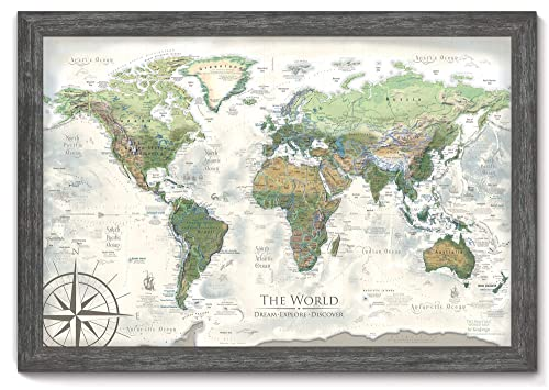 Amazon Com World Map Push Pin The Nautilus World Map Large Framed Map Created By A Professional Geographer Handmade
