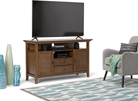 Amazon Com Simplihome Redmond Solid Wood Universal Tall Tv Media Stand 54 Inch Wide Farmhouse Rustic Storage Shelves And Cabinets For Flat Screen Tvs Up To 60 Inches Rustic Natural Aged Brown Furniture