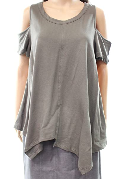 259bdc672ee3a3 H By Bordeaux Women s Medium Cold Shoulder Knit Top Green M at Amazon  Women s Clothing store