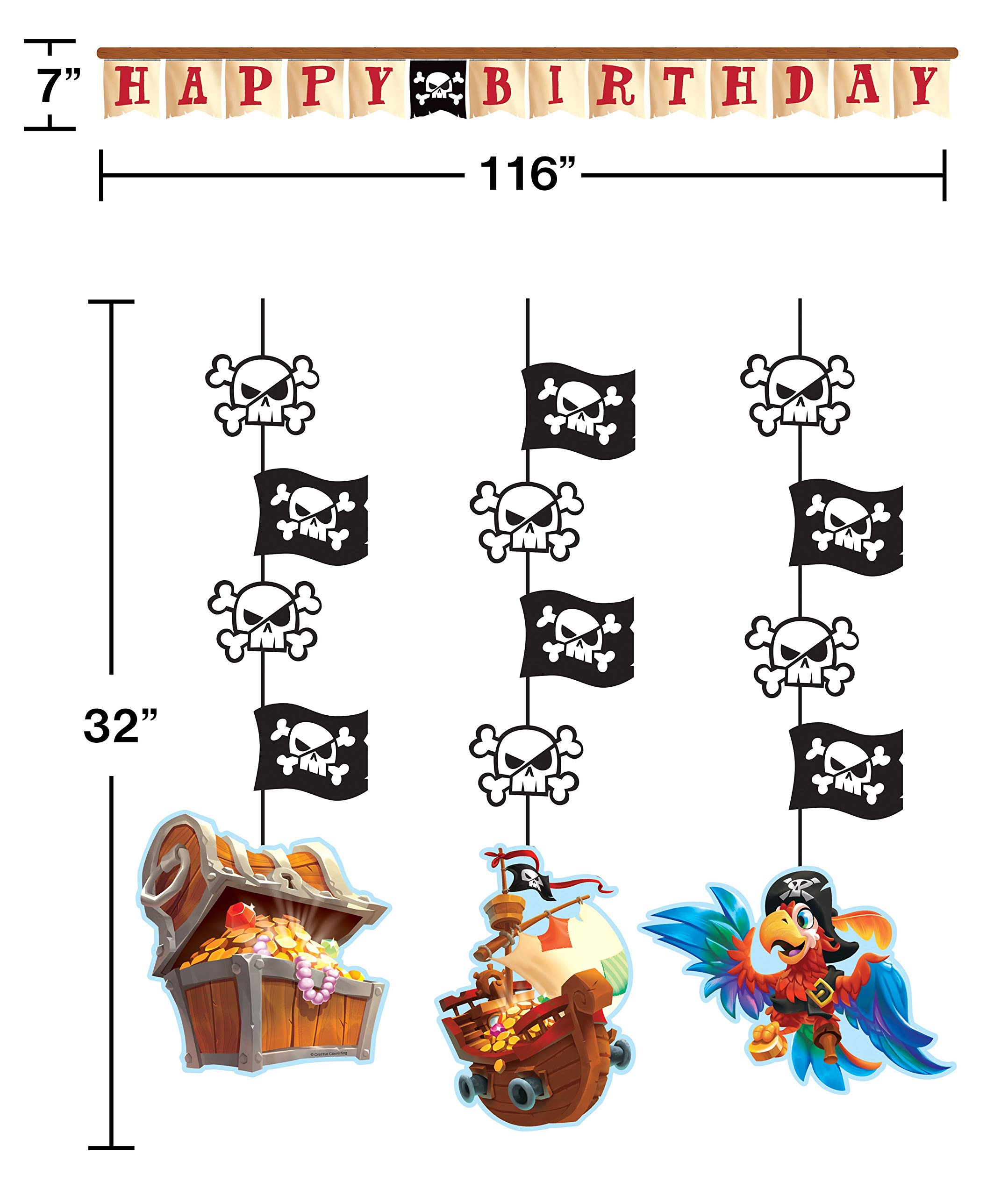 Pirate Happy Birthday Banner (116'' Long) With 3 Pcs Pirate Treasure Hanging Cutouts | Ideal For Kids, Adults Birthday Party Hanging Decoration & Pirate Party Supplies