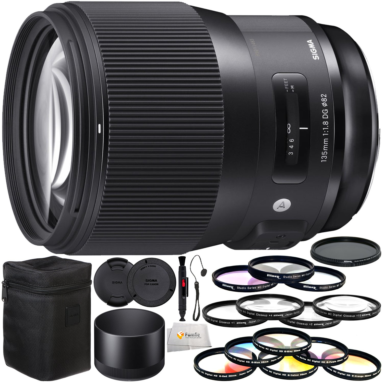 Sigma 135mm f/1.8 DG HSM Art Lens for Canon EF Includes 3PC Filter Kit (UV, CPL, FLD) + Variable Neutral Density Filter (ND2-ND400) + Lens Cleaning Pen + Lens Cap Keeper & More!