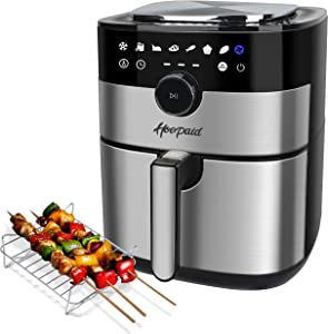 Hoepaid Air Fryer, No Oil Stainless Steel Oven with 5.6QT Non-Stick Basket and Rack, Roast, Bake and Dehydrate, Dishwasher safe, 8 Preset Modes, 1750W