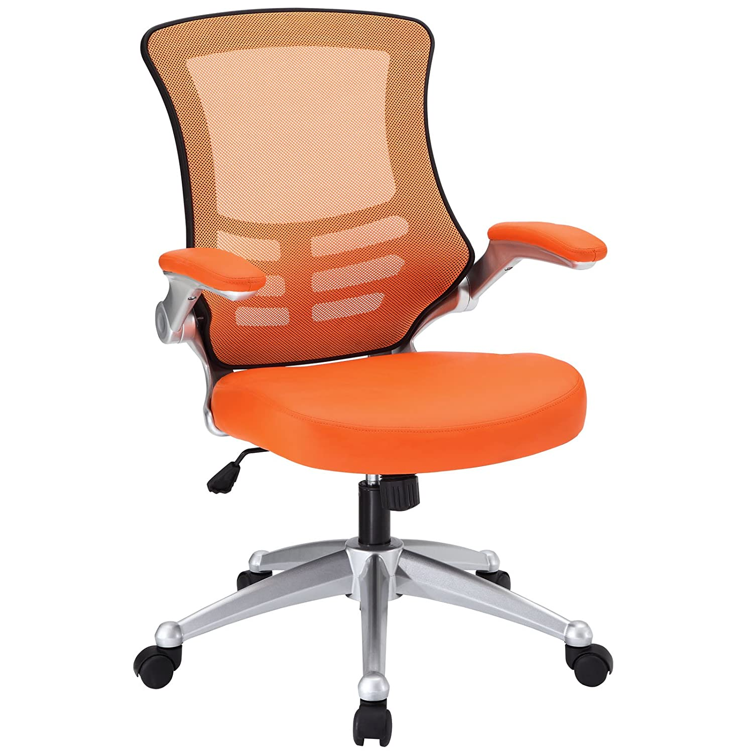 Amazon Modway Attainment Mesh Back And Orange Vinyl Modern