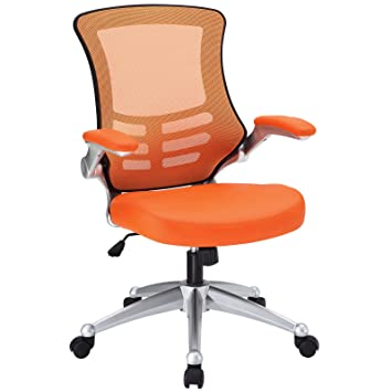 modway attainment mesh back and orange vinyl modern office chair with flipup arms