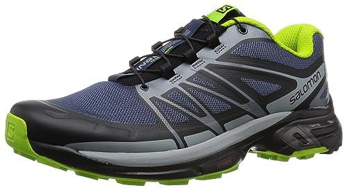 Salomon Men's Wings Pro 2 Trail Runner, Slate Blue/Light Onix/Granny Green