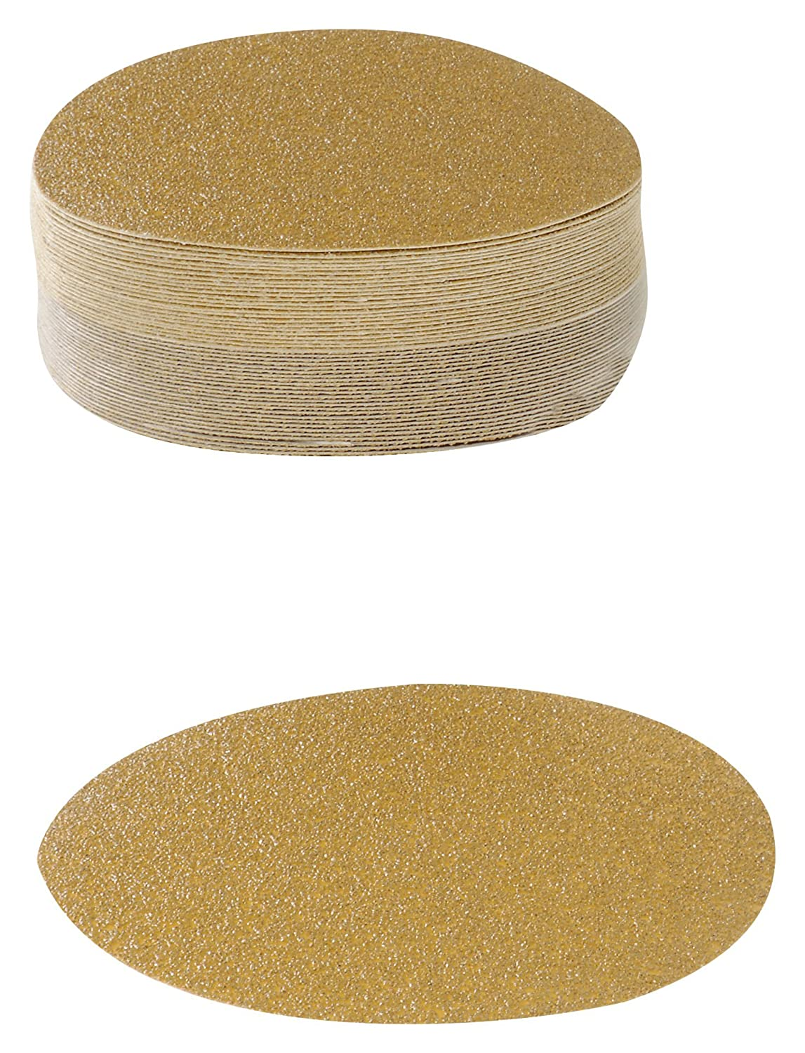 Karebac VDNH36 Hook and Loop Sanding Discs in Heavyweight Paper with 36 Grit Gold Aluminum Oxide (Pack of 50), 6' 6 Karebac Abrasives