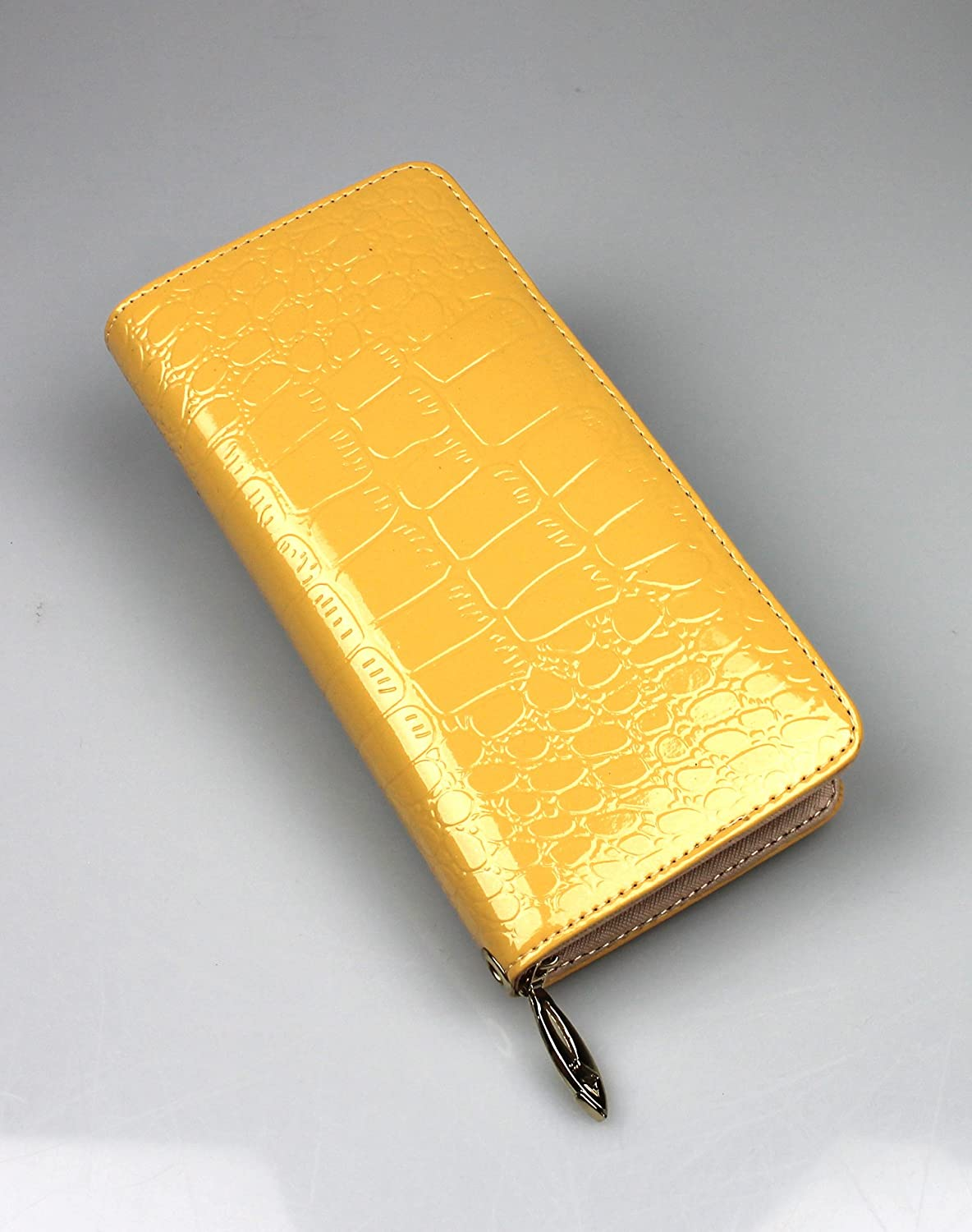 Fashion Womens Glossy PU Leather Long Wallet Handbag with Hand Strap