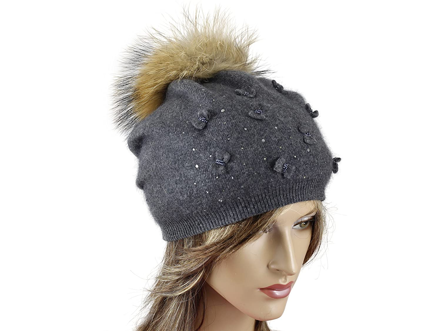 Elegant Knitted decorated with natural fur and rhinestones, small bows on the front pom-pom removable Hat warm