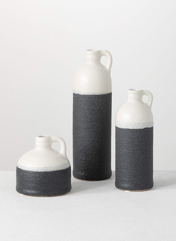 Sullivans Small Ceramic Jug Set, Farmhouse Home Decor, Set of 3 Vases, Two-Toned (CM2945)