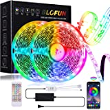 BLOFUN LED Strip Lights 50FT RGB Strips Light 450 LEDs Rope Light SMD5050 Music Sync Color Changing Tape Light + 40-Key…