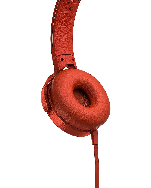 Sony MDR-XB550APR - Auriculares de Diadema Extra Bass (micrófono Integrado Compatible con Smartphones, Diadema metálica Adaptable) Color Rojo