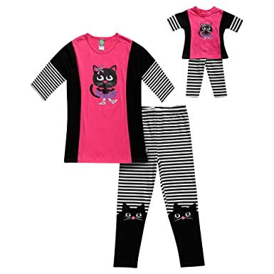 Dollie   Me Girls  Little Screen Printed Top with Legging and Matching Doll  Outfit 9dfe80552