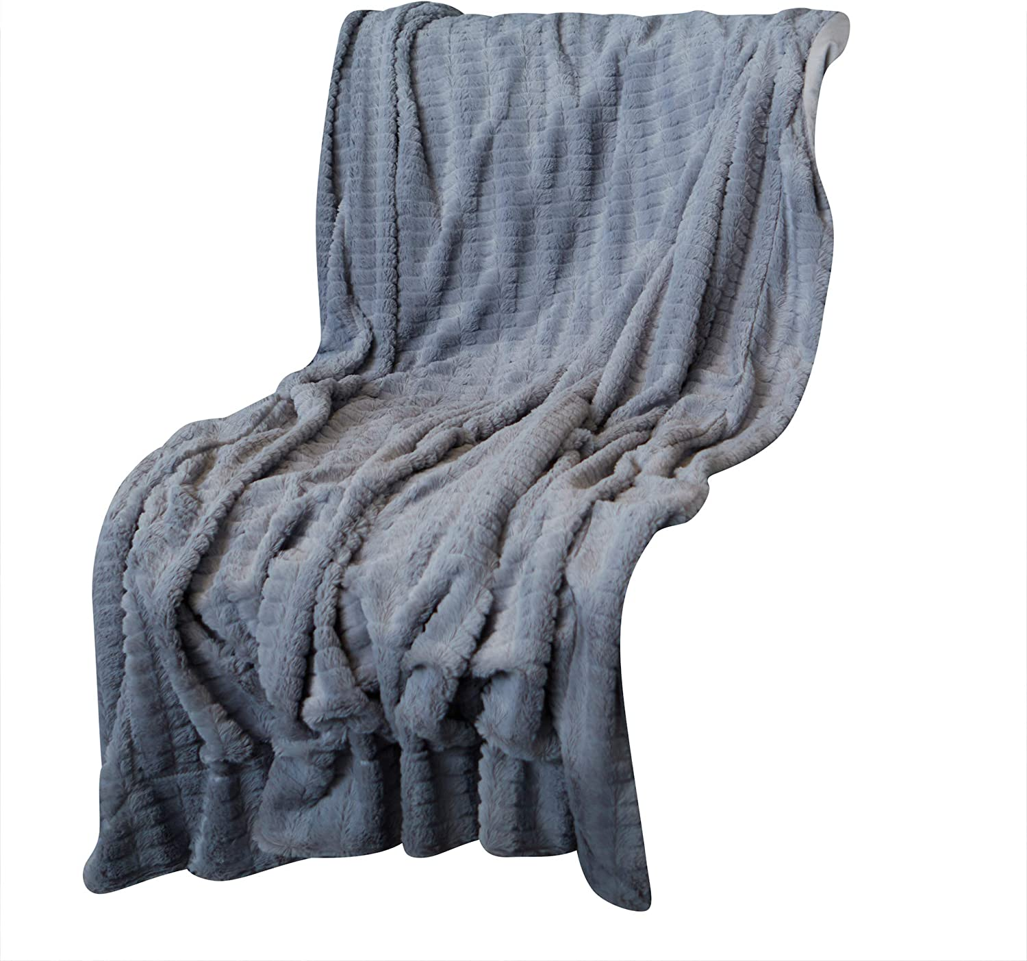 Oversized Faux Fur Throw Blanket for Couch and Bed, 50 in x 70 in (Alloy) Made by Celebrity Home Decorative