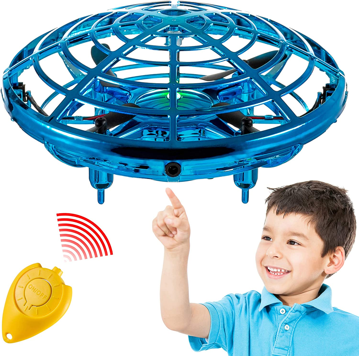 Blue Mini/Hand Operated Drone AFDEAL Pocket Hover Toy Interactive Aircraft Upgraded Gesture and Remote Control Flying Drone 360/° Rotating LED Lights Stress Reliever for Boys and Girls Kids Adults