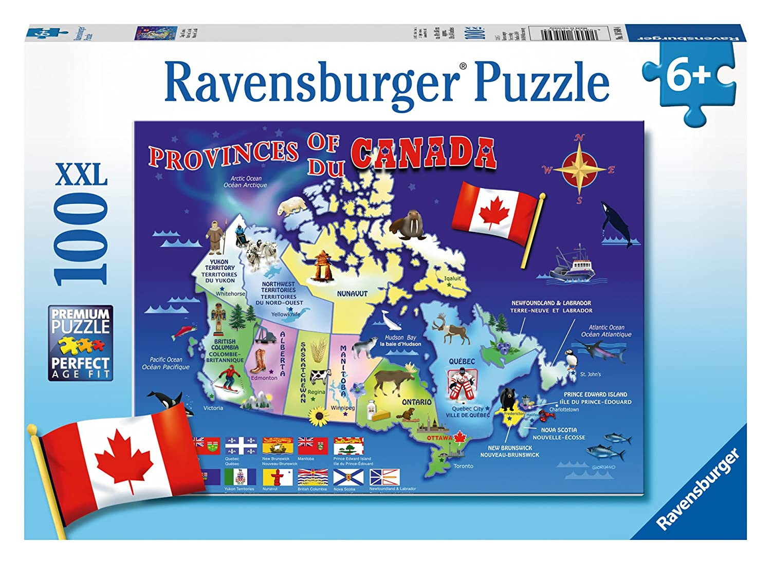 Map Of Canada Puzzle.Ravensburger Map Of Canada Puzzle 100 Piece