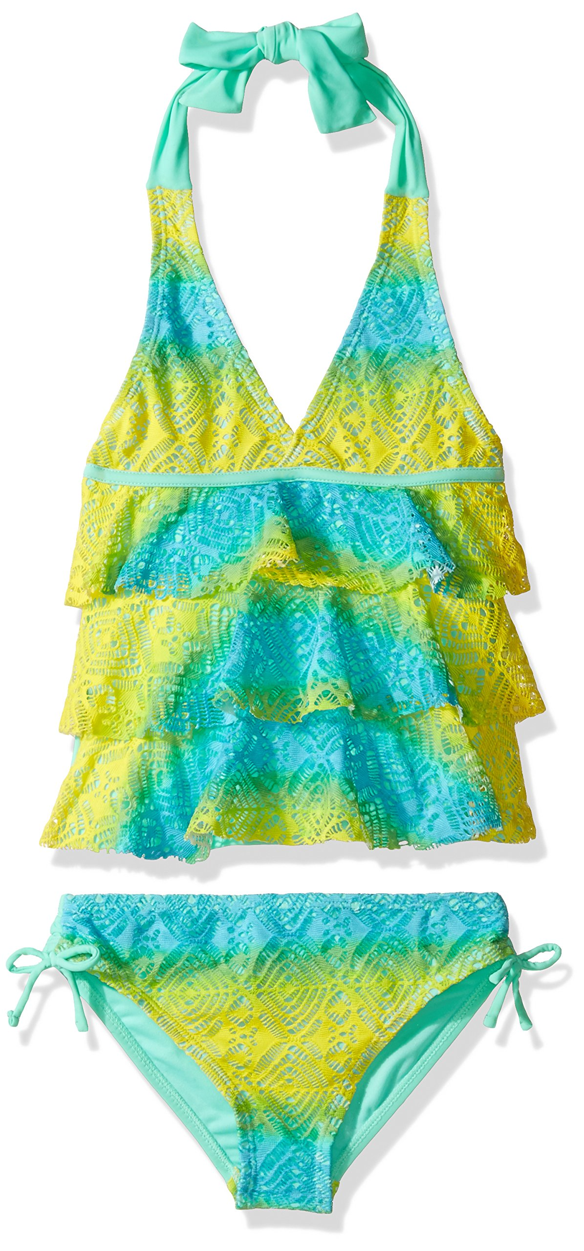 VIGOSS Big Girls' Love is in The Air Two Piece Ombre Tiered Tankini Swimsuit, Mint Sorbet, 7/8