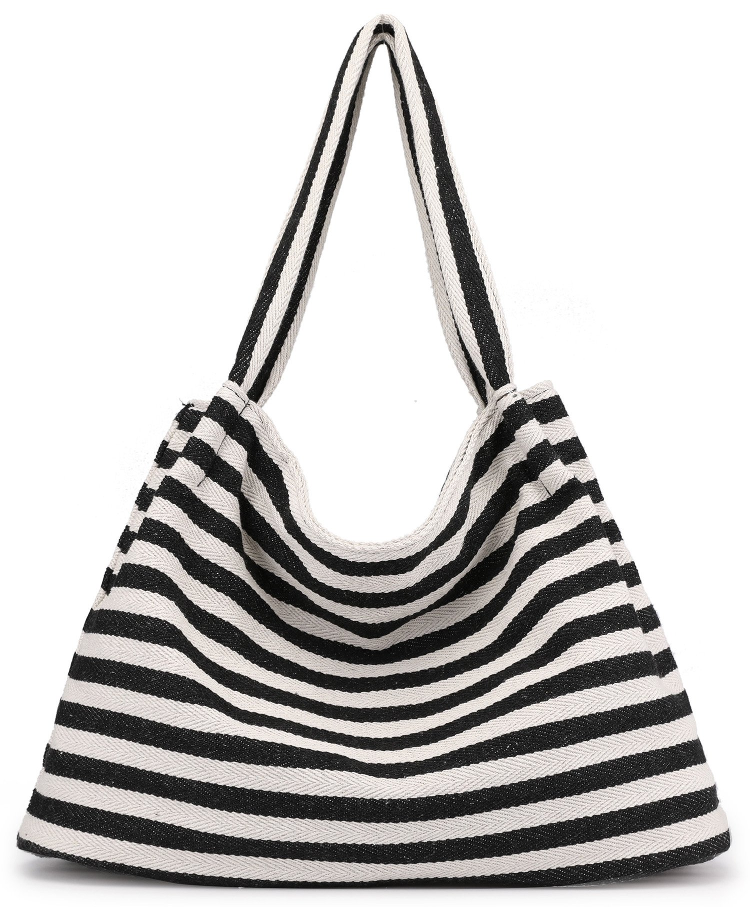 Striped Cotton Canvas Shoulder Hand Bag Zipper Tote for Women