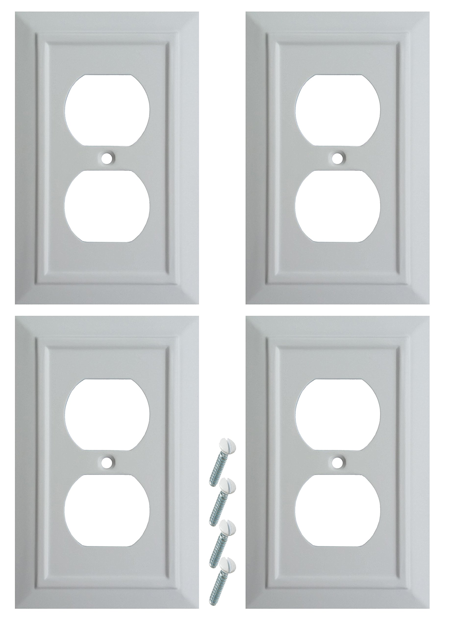 Pack of 4 Wall Plate Outlet Switch Covers by SleekLighting | Classic Architecture Wall plates| Variety of Styles: Decorator/Duplex/Toggle/Blank/& Combo | Size: 1 Gang Receptacle