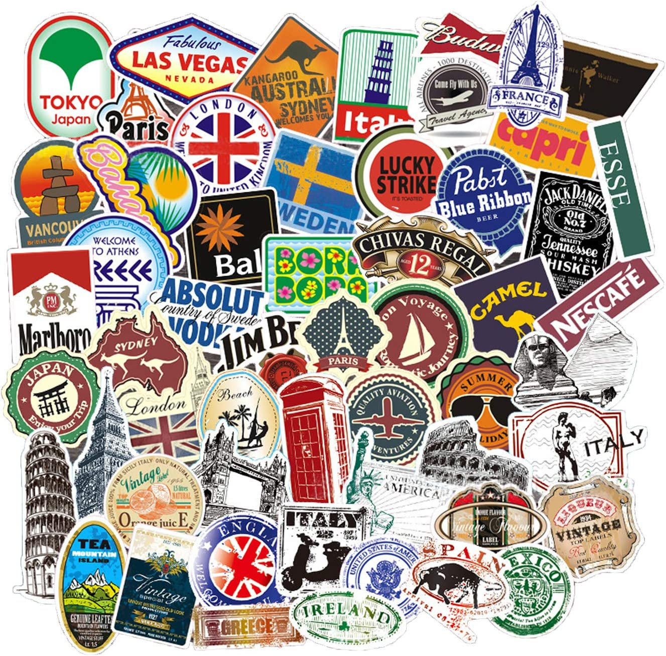 Vintage Travel Attractions Stickers, 79PCS World Famous Buildings Vinyl Waterproof Sticker and Decal for Luggage, Scrapbooking, Water Bottle, Kids Travel Case, Laptop, Truck, Car