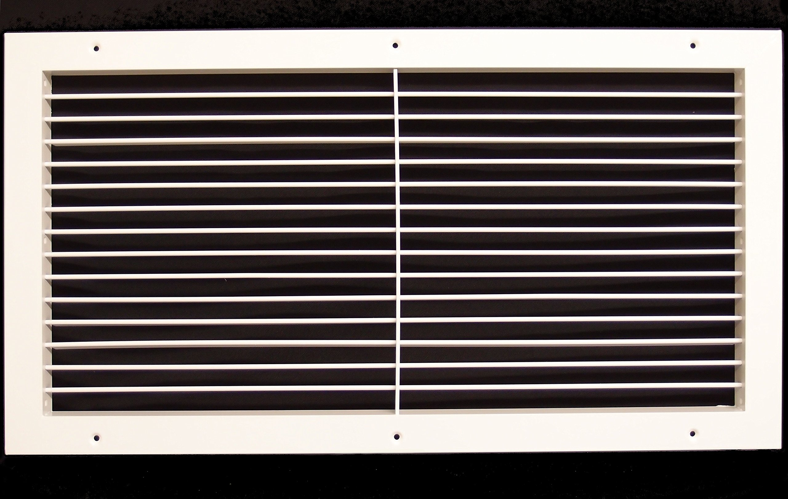 24''w X 12''h Aluminum Adjustable Return/Supply HVAC Air Grille - Full Control Horizontal Airflow Direction - Vent Duct Cover - Wide Front End Overlap - Single Deflection