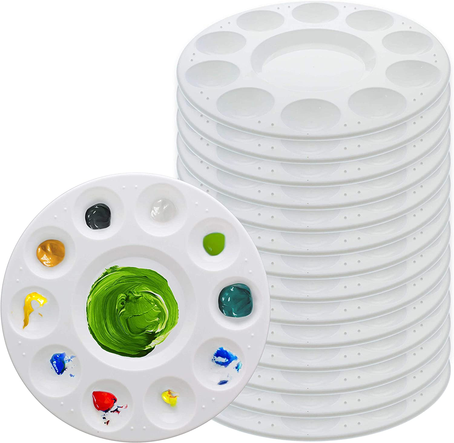 U.S. Art Supply 11-Well Round Plastic Artist Painting Palette (Pack of 15) - Paint Color Mixing Trays - Fun Kids Parties, Art Students, Classroom, Craft Projects - Brush Mix Acrylic, Oil, Watercolor