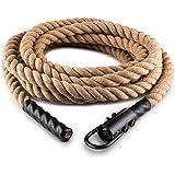 Capital Sports H-Serie • Battle Rope • Power Rope • Fitness Rope • Schwungseil • für Sprung- & Kletterübungen • Tauziehen • Material: Hanffaser • dreischlägig • Durchmesser: 3,8cm • Stahlhaken zur sicheren Befestigung • Modelle: 4m, 6m, 9m, 12m oder 15m