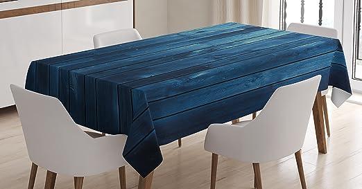 Azul oscuro mantel por Ambesonne, tablones de madera Textura ...