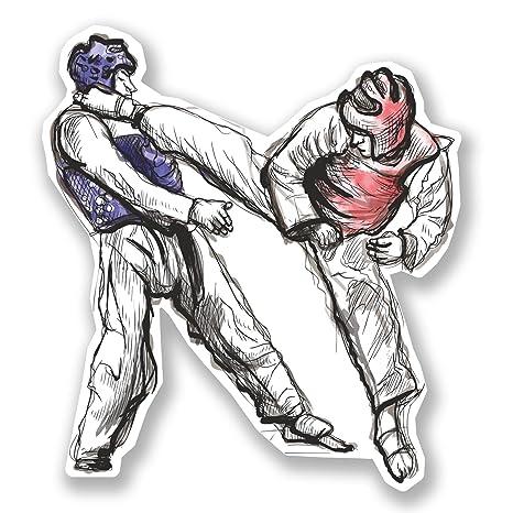 2 x 10 cm adhesivos decorativos de vinilo para ordenador portátil artes marciales Kick Boxeo Taekwondo