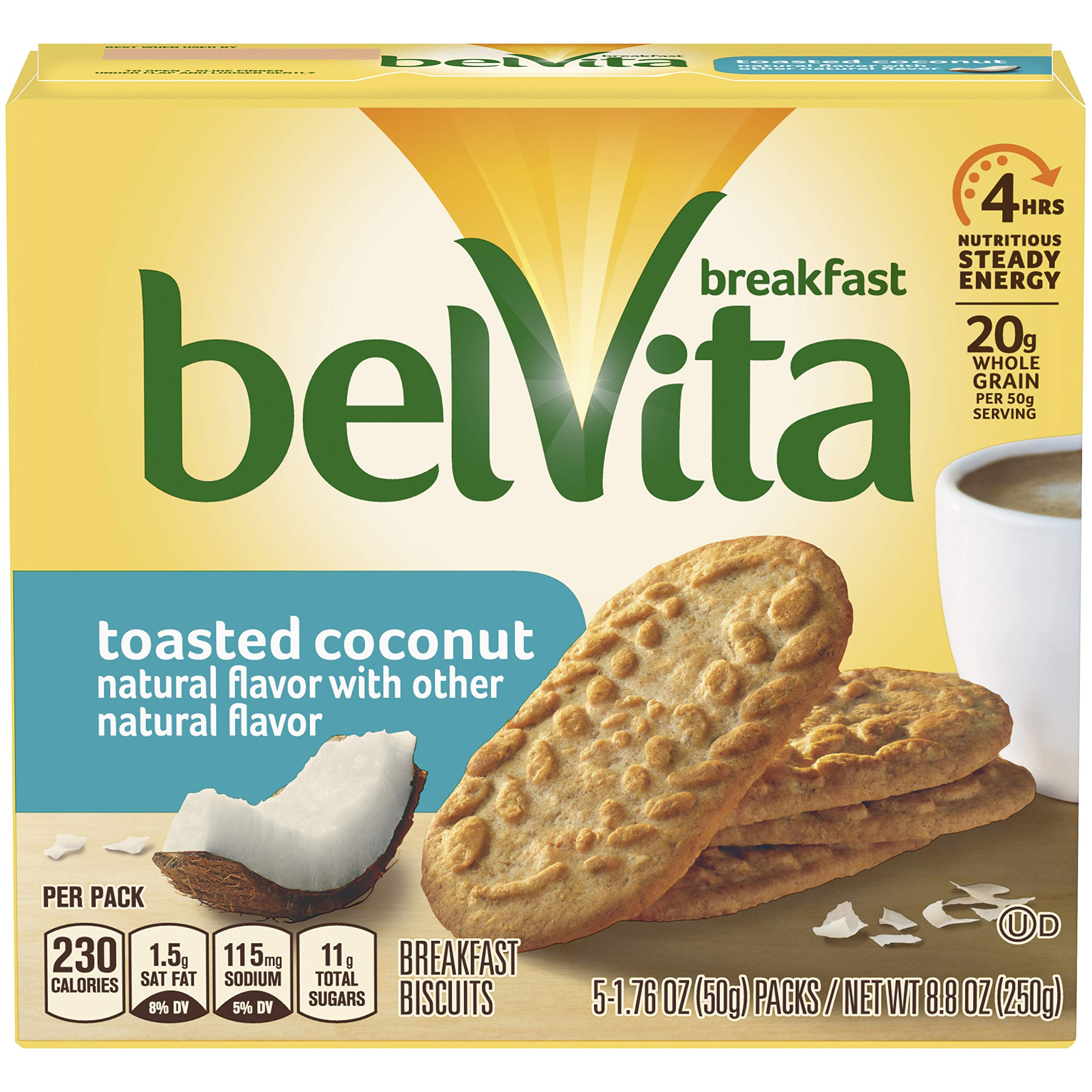 belVita Breakfast Biscuits, Toasted Coconut Flavor, 30 Packs (4 Biscuits Per Pack) by Belvita