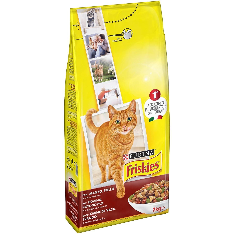 Friskies Adult pienso para el Gato, con Manzo, Pollo y Verduras aggiunte, 2 kg: Amazon.es: Productos para mascotas