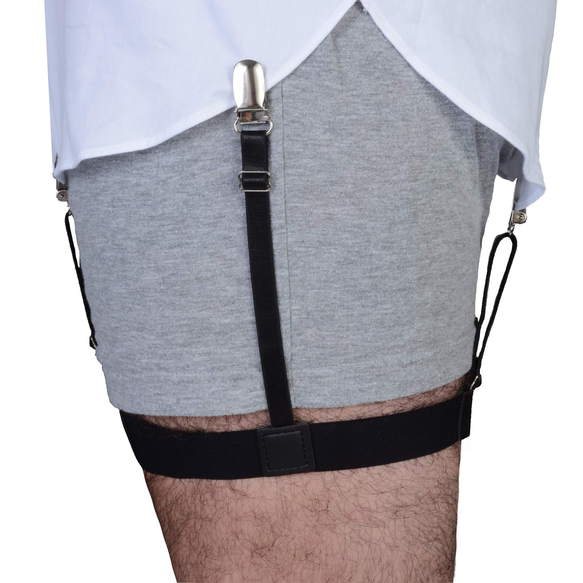 Adjustable Elastic Suspenders Shirt Holder Straps with Locking Non-Slip Metal Clips 2-Pack 1 Pair Shirt Stay Foot Loop Stirrup Style Shirt Stays