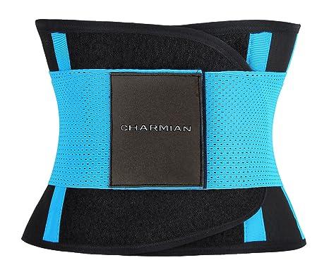 f4b36c32b1 Charmian Women s Adjustable Waist Trainer Belt - Workout Enhancer Stomach  Body Shaper for Hourglass Shape Blue