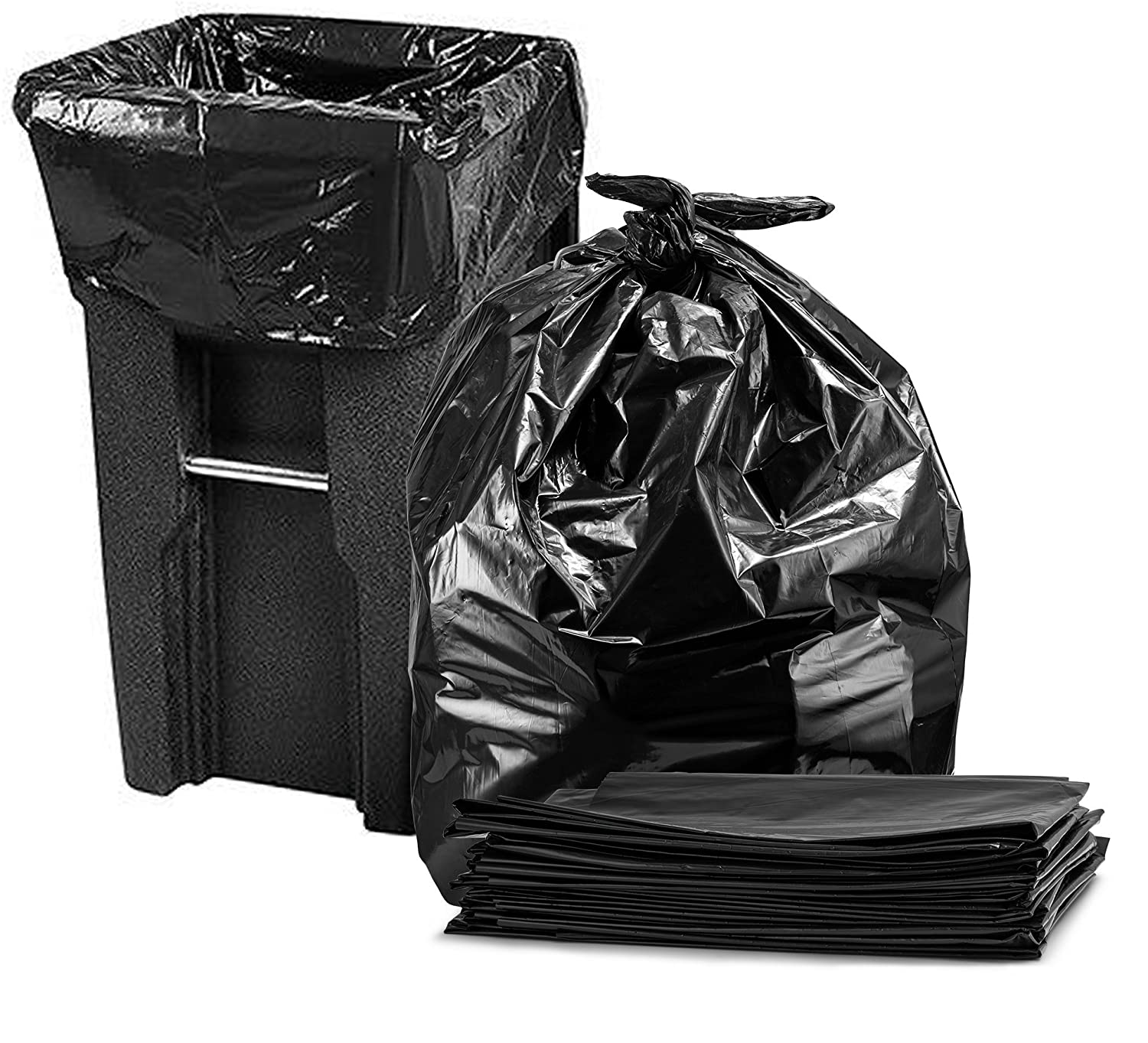 Trash Bags 65 Gallon, Heavy Duty Garbage Bags, 50 Wx48 H, Black (50 Count) 50 Wx48 H