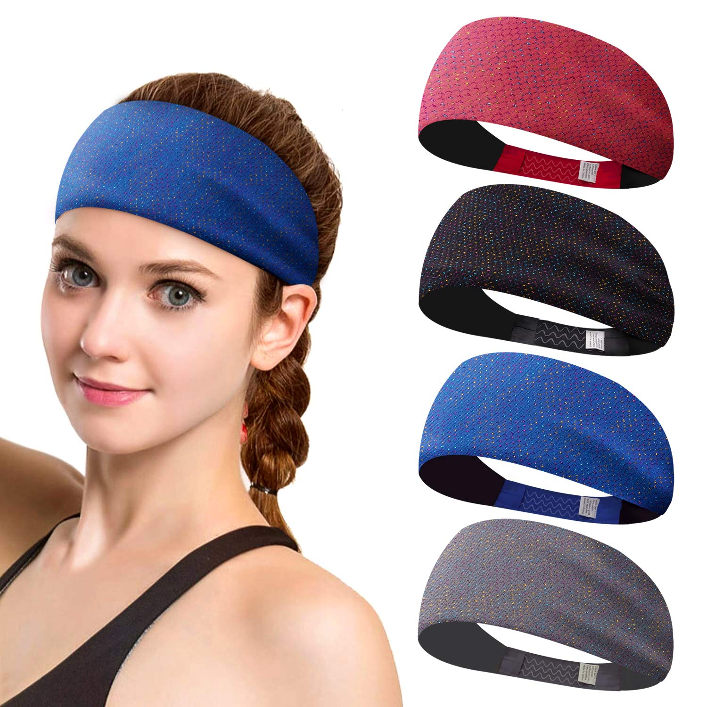 550db1f4a05d MerryXD Yoga Sports Athletic Headbands for Women - Shiny Womens Sweatband  Moisture Wicking Workout Sweatbands for Running