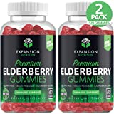 (2 Pack | 120 Gummies) Elderberry Gummies for Immune Support | Immune Gummy with Vitamin C, Antioxidant & Flavonoids | Natural Berry Flavor | Immune System Booster Herbal Supplement for Adults & Kids