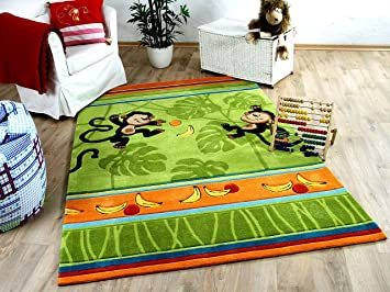 Große Kinderteppiche amazon de lifestyle kinderteppich affenspaß grün in 3 größen