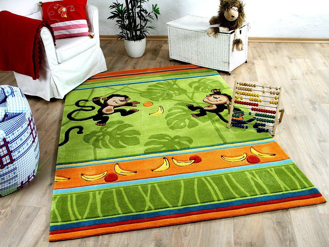 Lifestyle Kinderteppich Affenspaß Grün in 3 Größen     Sofort Lieferbar