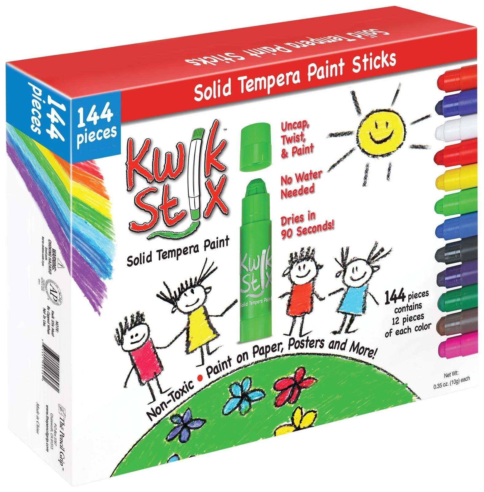 Pencil Grip Kwikstix Solid Tempera Paint 144ct, Super Quick Drying, 12 of Each Classic Color, (TPG-644)