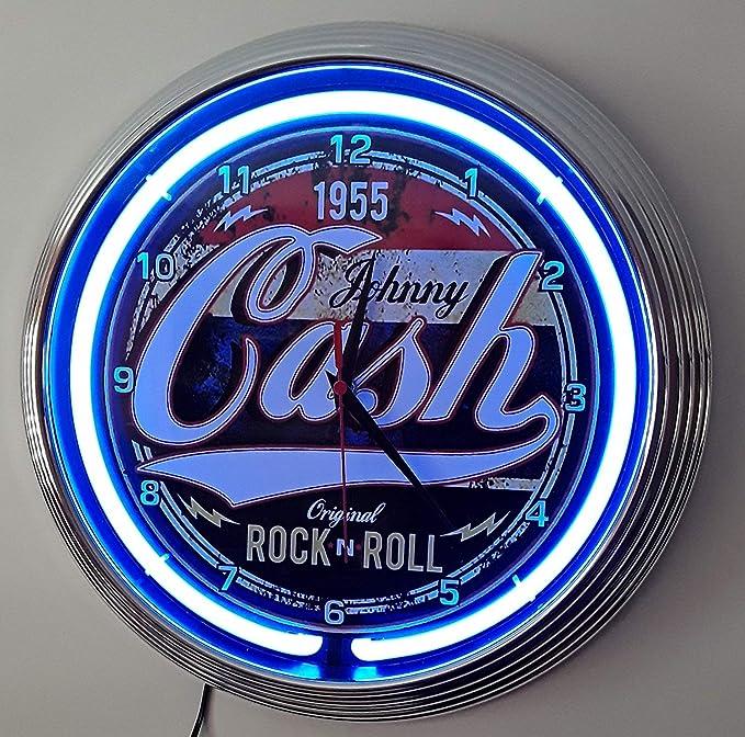 Reloj de pared Rock n Roll azúl neón