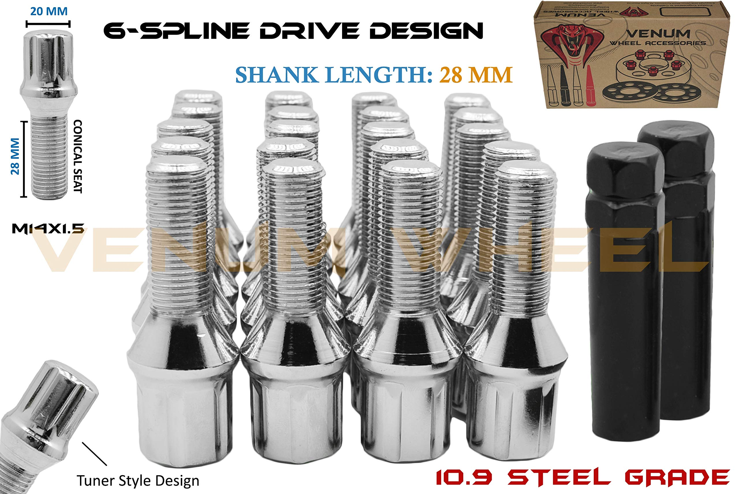 Cone Seat 20pc Silver Extended Lug Bolts 40mm Shank Length 14x1.5 Threads