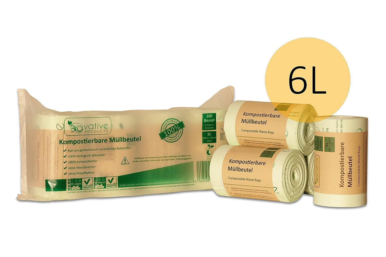 BIOvative Kompostierbare Bio-Müllbeutel 6 Liter - 200 Stk ...