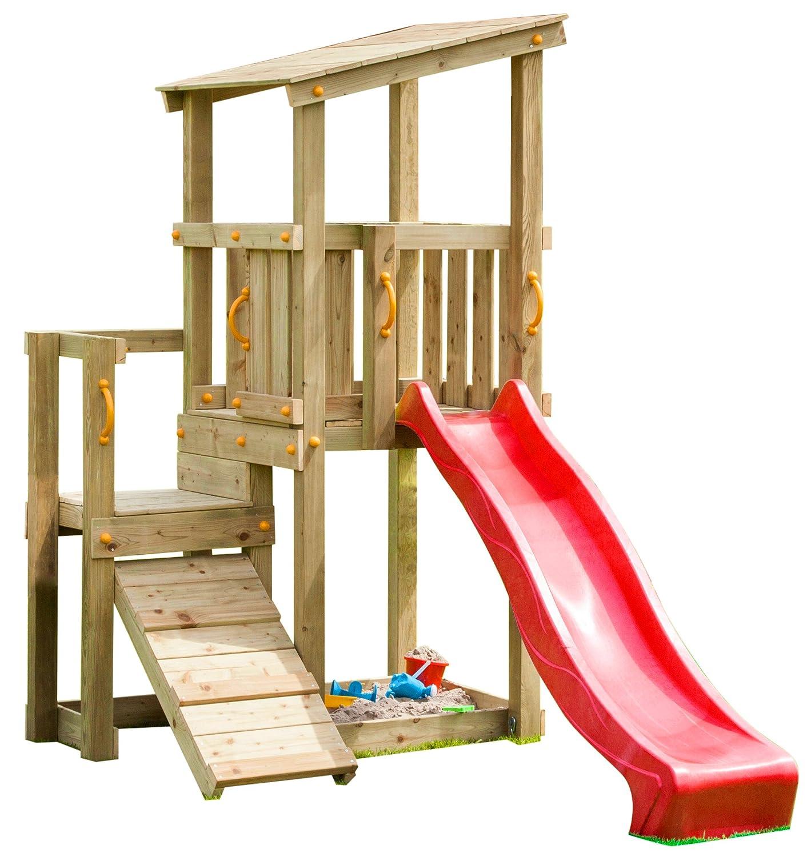 Blue Rabbit 2.0 Spielturm CASCADE mit Rutsche 2,30 m + Kletterrampe Spielhaus Kletterturm Spielplatz Kiefer MASSIVHOLZ imprägniert (Rot)