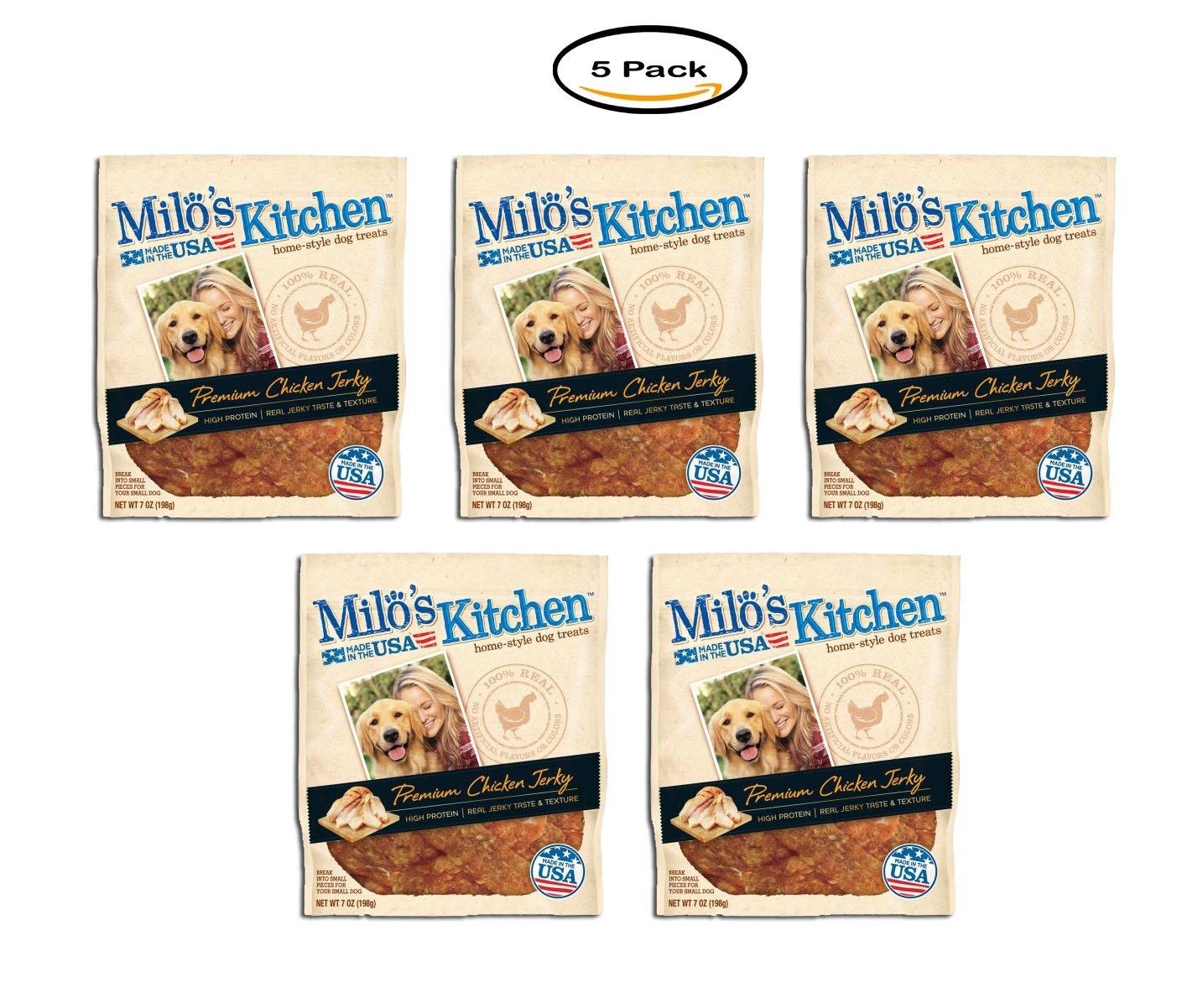PACK OF 5 - Milo's Kitchen Premium Chicken Jerky Dry Dog Treats , 7 Oz