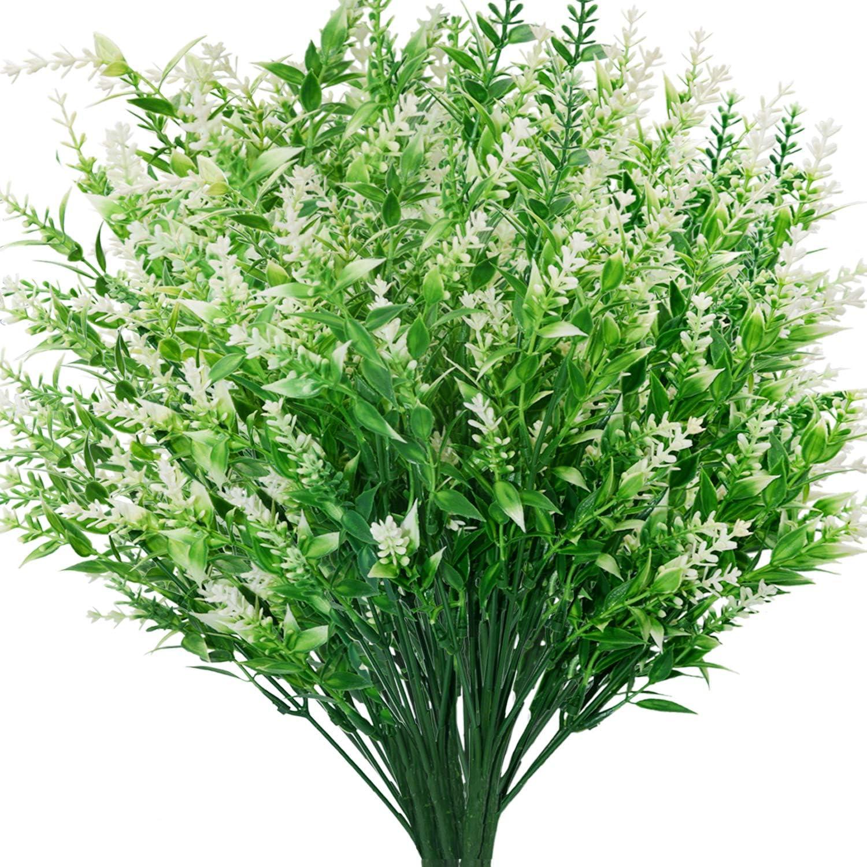 CLONG Artificial Plants Lavender Flowers Faux Breath UV Resistant Fake Shrubs Simulation Greenery Bushes House Office Garden Patio Decor Wedding Table Flowers Arrangement Bouquet Filler-6 Bundles