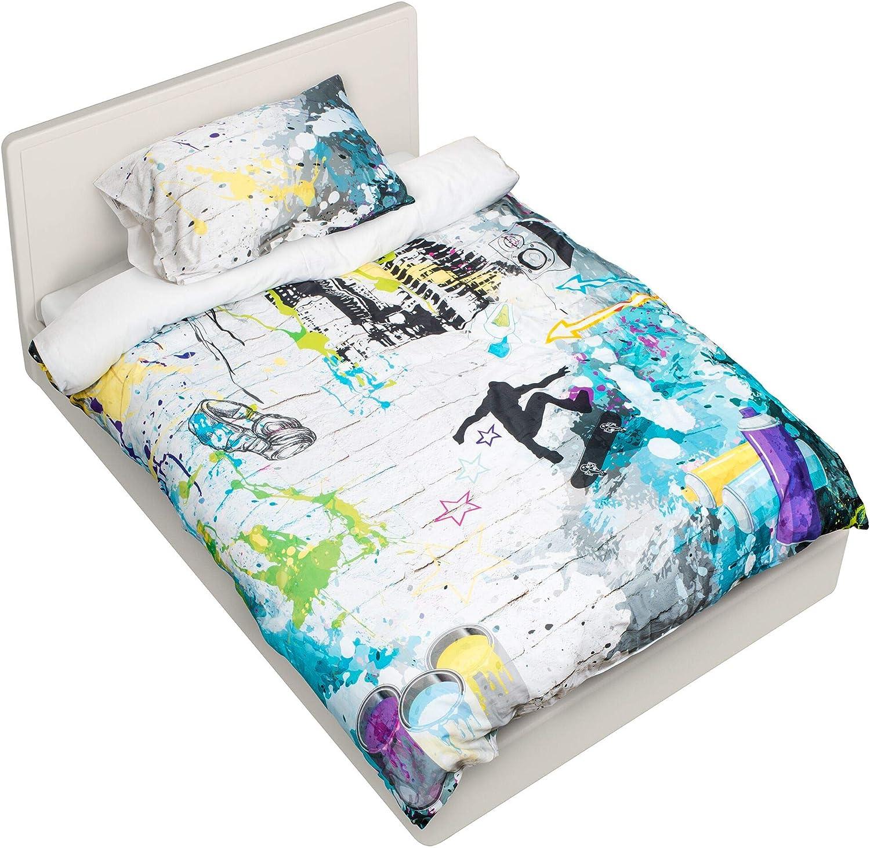 NOOB Textiles Graffiti Style Boys Duvet Quilt Doona Cover Set Bedding - 100% Cotton Digital Print