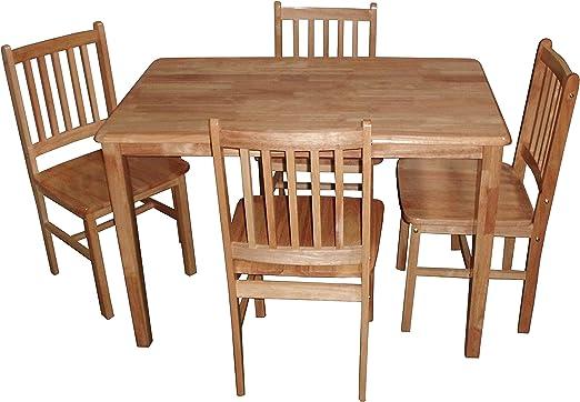Antik – Natural pequeña Mesa de Comedor con 4 sillas de Madera ...